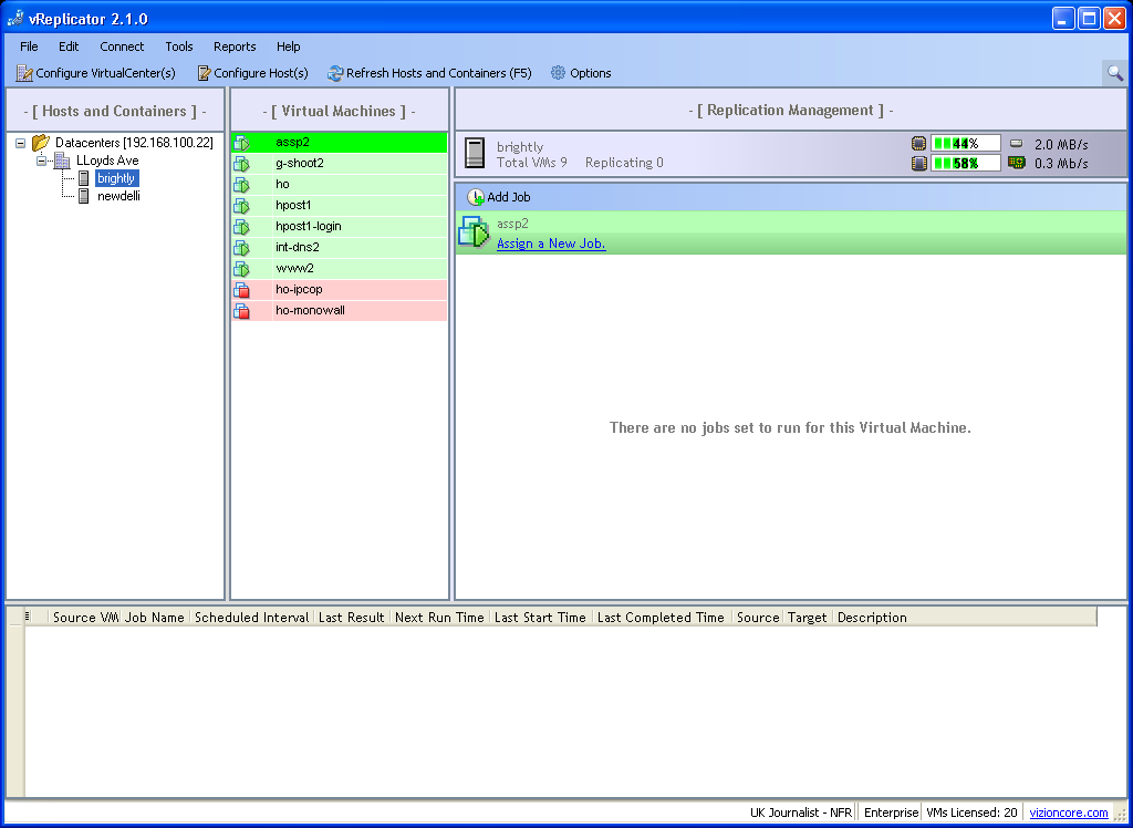 vReplicator's main GUI