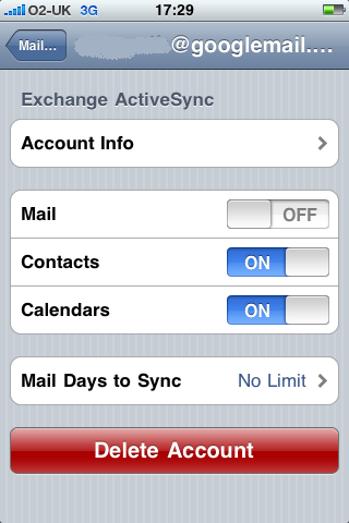 Configure Active Sync Options